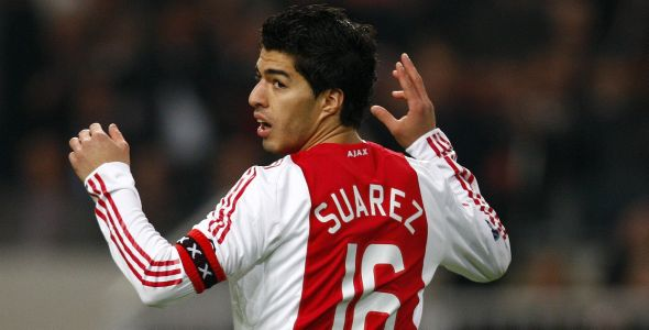 Ajax Amsterdam's Suarez reacts during their UEFA Cup soccer match against Olympique Marseille in Amsterdam