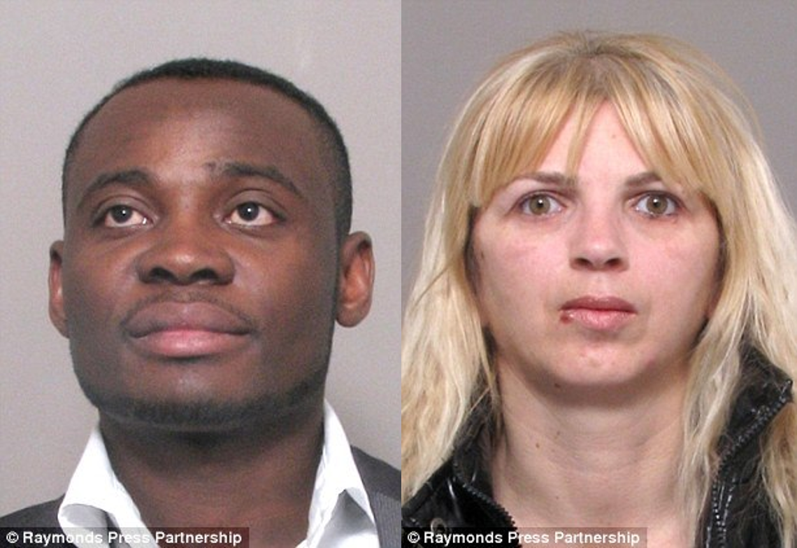 Behind bars: Chinedu Amadi, 27, pictured left, was jailed for 20 months at Leicester Crown Court after paying £5,000 to a 'fixer' who arranged his sham marriage while his 'bride' Szilvia Basco-Porkolab, pictured right, was jailed for 34 months for her part in two sham marriages