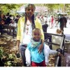 Yoliswa Cele Luthuli and her son Nkanyezi at BringBackOurGirls rally at Union Square Park