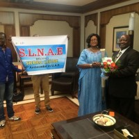The Sierra Leone Nationals' Union in UAE presents floor to Amb. Timbo