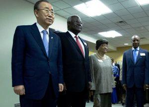 From left to right-Ban Ki moon-UN Secretary General, President Ernest Bai Koroma, President Ellen Johnson-Sirleaf and President Alph Conde