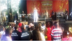 Reggae dancehall artist Baby Cham performs as Sanchez's replacement