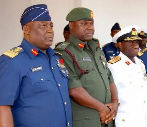 L-R: Chief of Defence Staff, Air Marshal Alex Badeh; Chief of Army Staff, Maj. Gen. Kenneth Tobiah Minimah; Chief of Naval Staff, Rear Admiral Usman Jibril