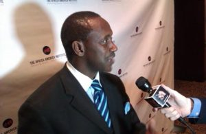 Dr. Kandeh Yumkella speaks with reporters at Africa America Institute's 60th Anniversary Awards Gala