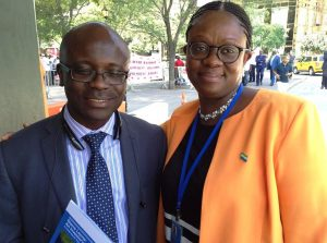 Mustapha Wai & Sylvia Blyden at a protest and counter-protest rally against and for President Koroma by CSLUSA and Sierra Leoneans for Peace during UN International Ebola Conference in New York. Photo credit -Sylvia Bl