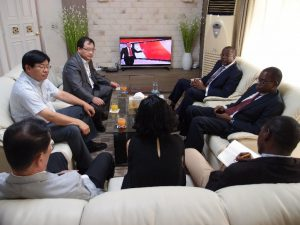 Pictured here: H.E. Ambassador Golley in discussions with Chairman Mr. Kim Hun Ko, and Director Mr. Chul Eui Han
