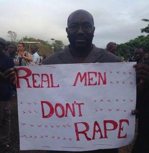 Hon. Alhaji Moijue Kaikai, the Minister of Social Welfare, Gender and Children's Affairs is among the demonstrators