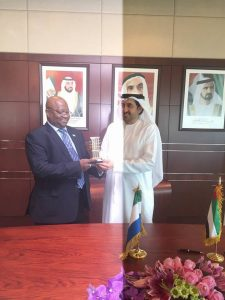 Amb.-Timbo-receiving-souvenir-from-UAE-Minister-after-signing-agreement