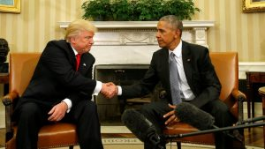 U.S. President Barack Obama meets with President-elect Donald Trump in the Oval Office of the White House in Washington November 10, 2016. REUTERS/Kevin Lamarque